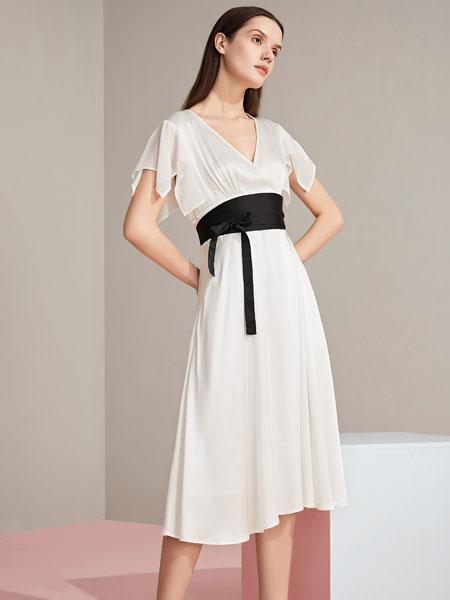 JAOBOO 乔帛女装品牌2020春夏新款纯色蕾丝花纹连衣裙