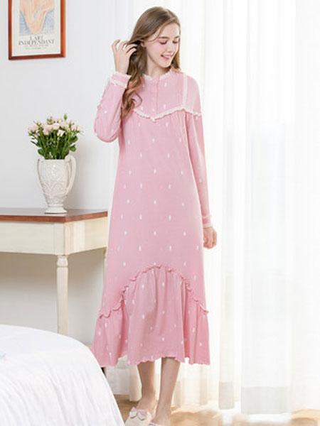 古格睡衣女秋款长袖薄款睡裙立领蕾丝公主风纯棉中长款睡裙家居服