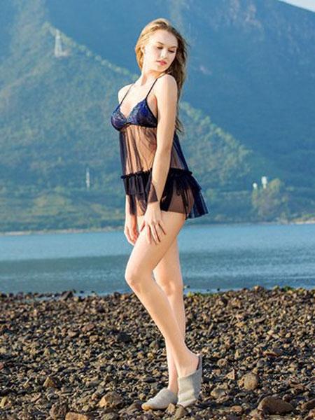 古格睡袍女夏深V露背吊带睡裙两件套诱惑透明蕾丝性感情趣睡衣