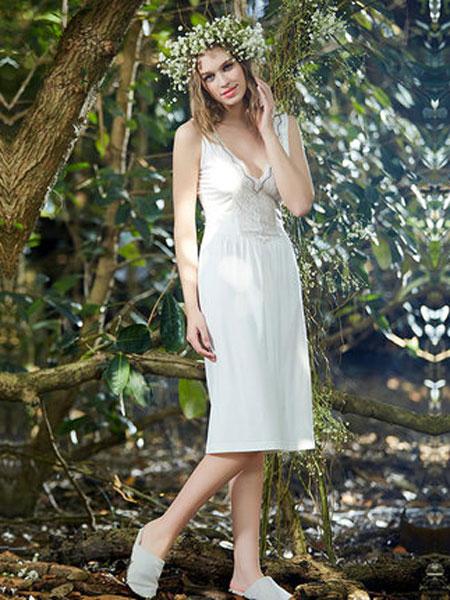 古格睡衣女夏季莫代尔棉睡裙修身中长裙家居服蕾丝情趣睡衣性感