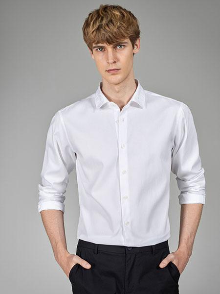 金利来2020春季新款男士潮纳米免烫纯棉绣花休闲长袖白衬衫