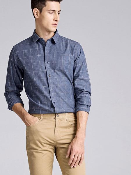 金利来2020春季新款男士舒适纯棉干爽透气时尚花纱休闲长袖衬衫