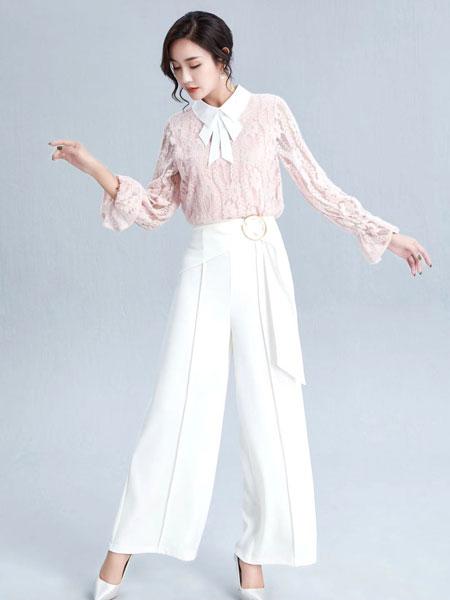 布伦圣丝女装品牌2020春夏新款纯色针织绣花长袖上衣