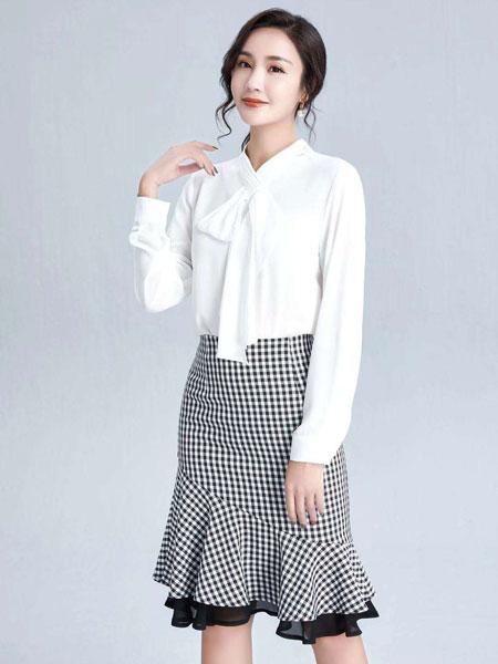 布伦圣丝女装品牌2020春夏新款纯色系带式气质长袖上衣
