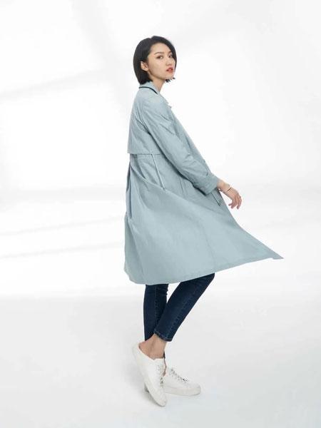黛英女装品牌2020春夏新款纯色气质长款风衣