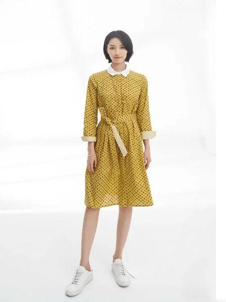 黛英女装品牌2020春夏新款纯色波点气质连衣裙