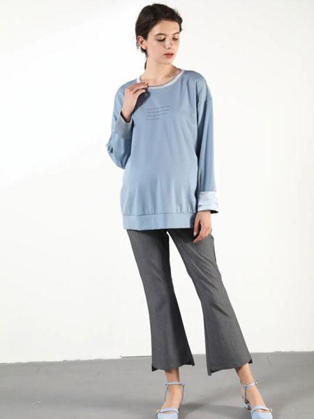 孕之彩女装品牌2020春夏新款纯色高腰阔脚九分喇叭裤