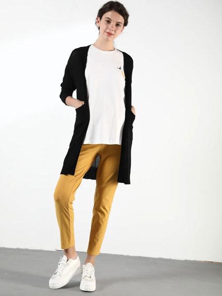 孕之彩女装品牌2020春夏新款纯色高腰九分牛仔裤