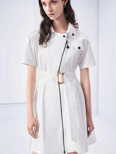 卡尼欧女装品牌2020春夏时尚收腰知性连衣裙