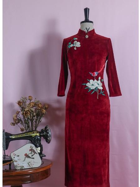 萍灵绣旗袍女装品牌2019秋季新品鹊上枝头