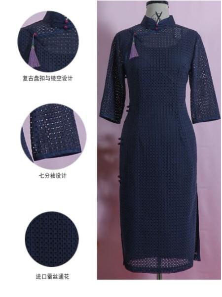 萍灵绣旗袍女装品牌2019秋季新品蓝色经典