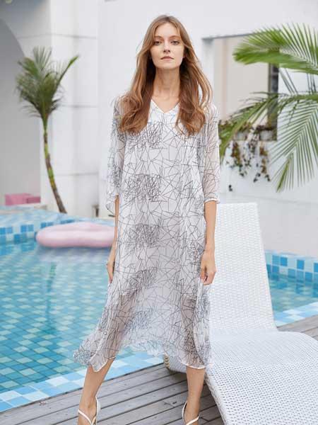 衣艾女装品牌2020春夏雪纺宽松连衣裙