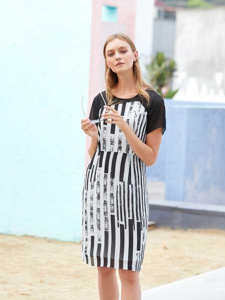 衣艾女装品牌2020春夏纯棉条纹连衣裙