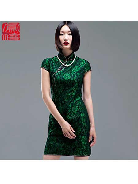 凤禧女装品牌2020春夏新款复古文艺丝绒旗袍裙中式晚宴礼服