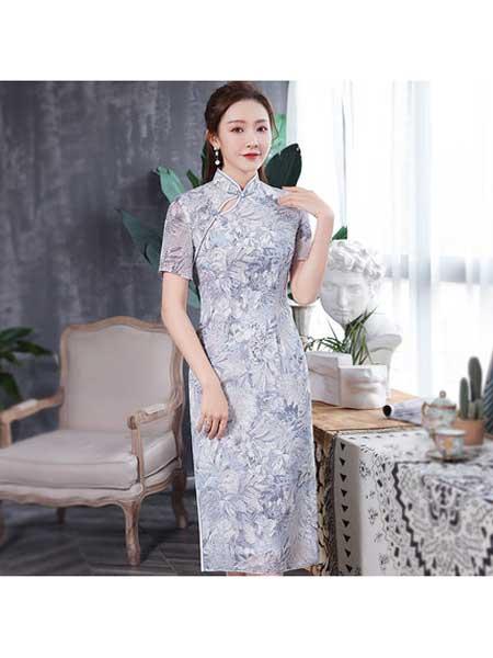 秀观唐女装品牌2020春夏新款改良中长款古典修身短袖雪纺印花旗袍裙