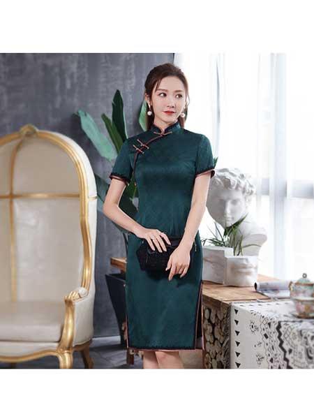 秀观唐女装品牌2020春夏短款改良复古中国风真丝桑蚕丝高端旗袍礼服裙