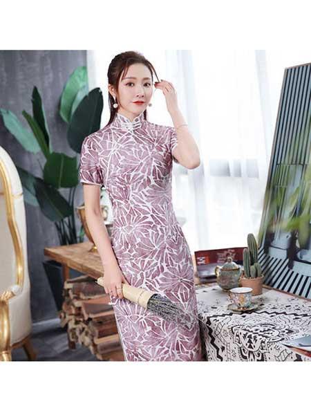 秀观唐女装品牌2020春夏雪纺复古绣花短袖修身中长款改良旗袍裙