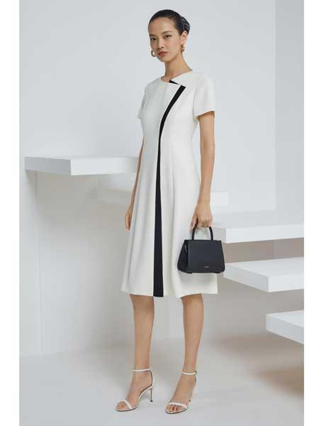 宝姿1961国际品牌品牌2020春夏女装短袖长连衣裙