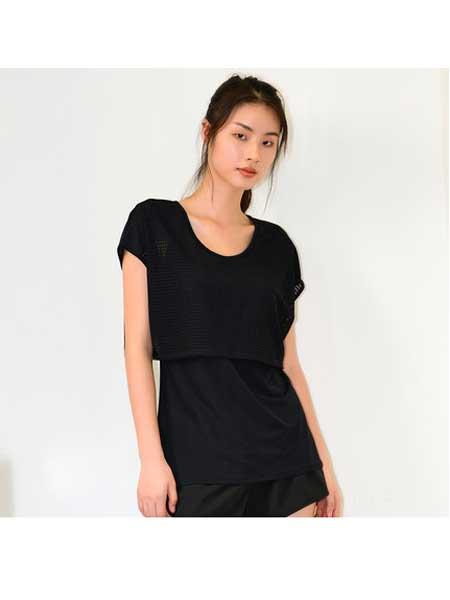 歌莉娅女装品牌2020春夏新品假两件瑜伽罩衫
