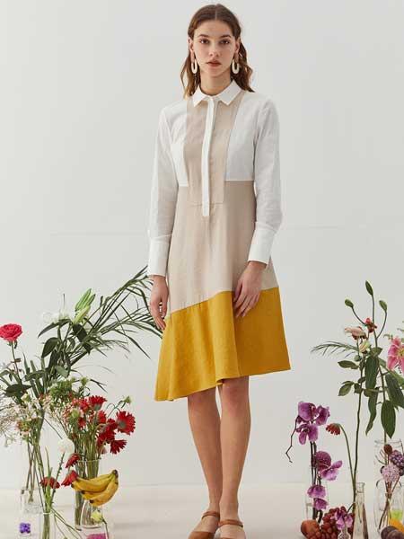 八月盛典女装品牌2020春夏知性衬衫连衣裙