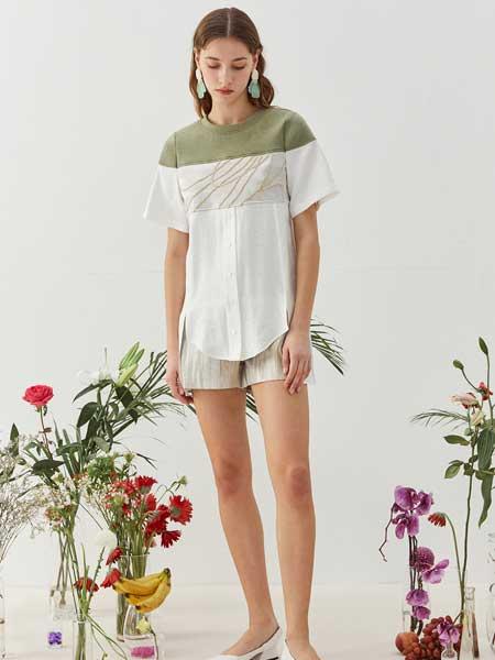 八月盛典女装品牌2020春夏纯棉撞色款短袖