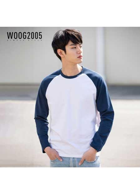 woog2005男装品牌2020春夏男士插肩袖圆领长袖t恤 拼接体恤春季白色打底衫
