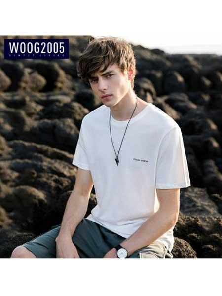 woog2005男装品牌2020春夏黑色圆领男士短袖t恤 新款字母刺绣纯棉半袖体恤