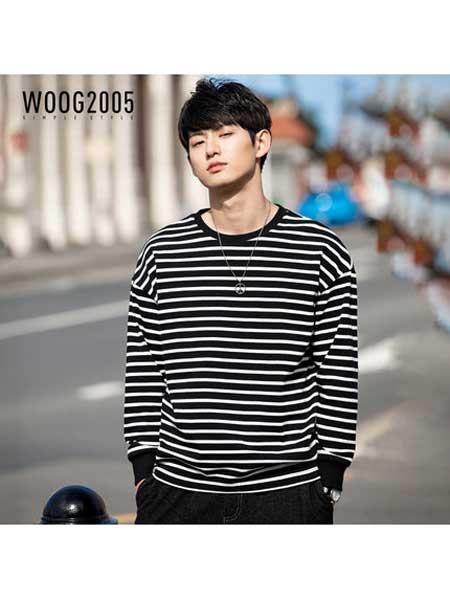 woog2005男装品牌2020春夏黑白条纹男士圆领卫衣新款韩版潮流无帽套头上衣