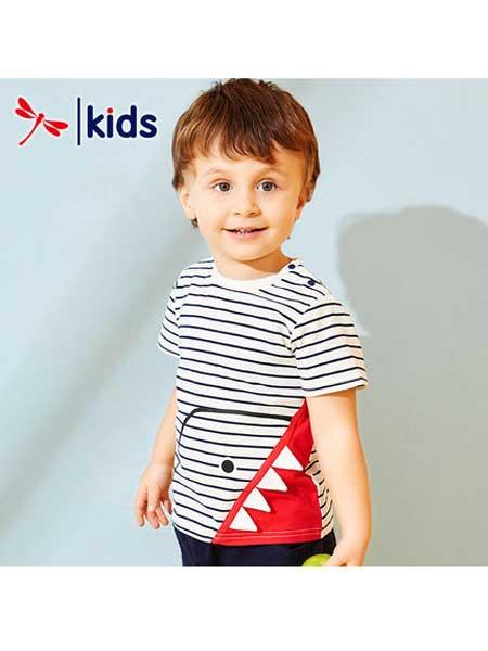 红蜻蜓童装品牌2020春夏条纹印花短袖