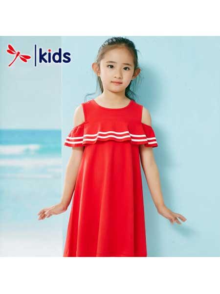 红蜻蜓童装品牌2020春夏女童露肩连衣裙