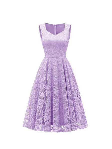 艾依之裳女装品牌2020春夏新爆款高品质方领无袖大摆蕾丝连衣裙