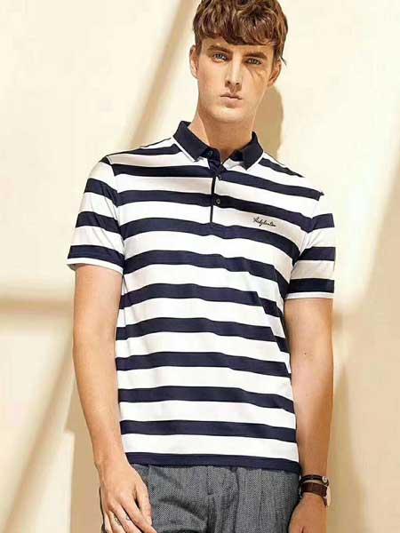 爱迪丹顿男装品牌2020春夏条纹poo衫短袖
