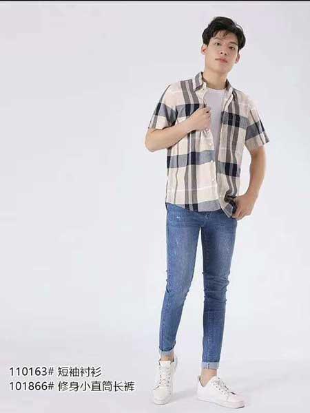 西都本色男装品牌2020春夏男性蓝色修身牛仔裤