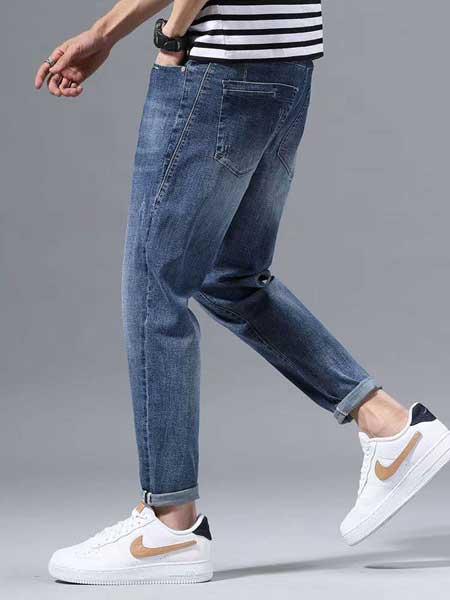 美酷思牛仔品牌2020春夏男生深蓝牛仔裤