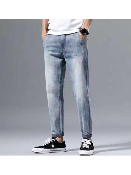 美酷思牛仔品牌2020春夏男士浅色牛仔裤