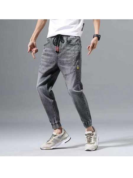 美酷思牛仔品牌2020春夏烟灰色牛仔裤
