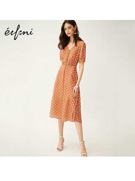 EIFINI伊芙丽女装品牌2020春夏裙子女新款夏装中长款复古裙高腰v领波点雪纺连衣裙女