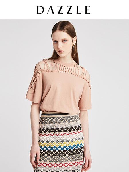 DAZZLE地素女装品牌2020德赢官方网站app新款棉质镂空宽松纯色短袖t恤女