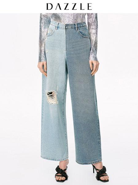 DAZZLE地素女装品牌2020德赢官方网站app新款经典复古系列拼色阔腿牛仔裤女