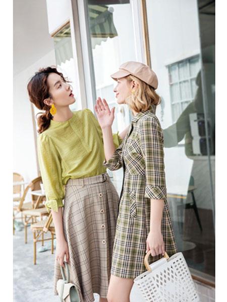布根香女装品牌2020春夏简约格子西装裙