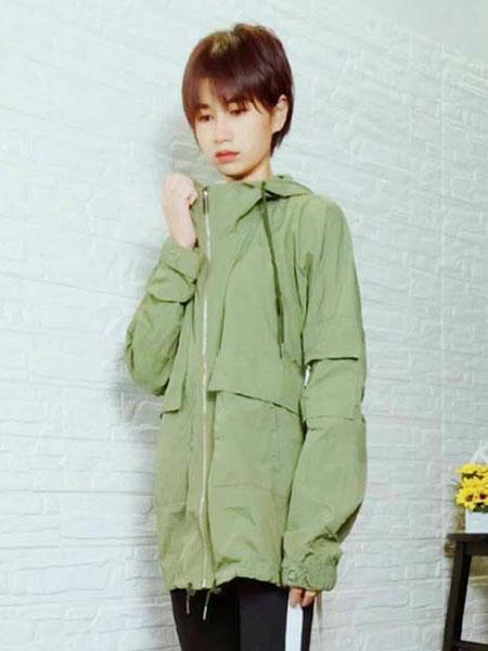 粤韵女装品牌2020春夏绿色外套