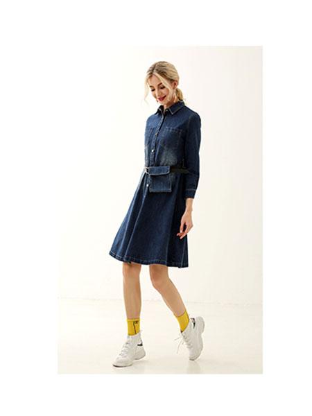 领卉女装品牌2020春夏收腰牛仔裙