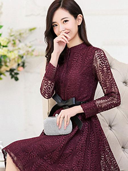 依兰慕语女装品牌2020春夏深红连衣裙优雅知性