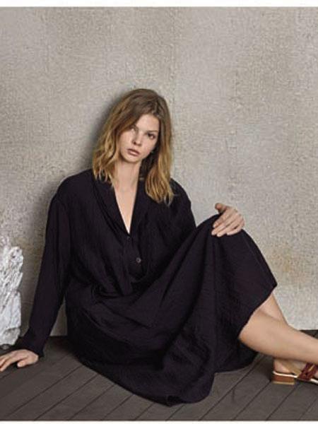 南耳女装品牌2020春夏v领性感优雅连衣裙