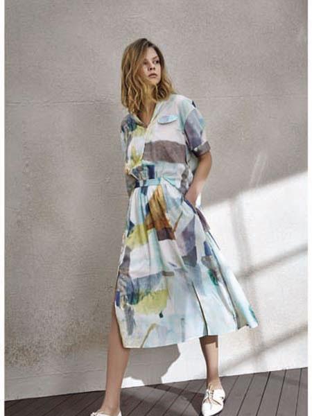 南耳女装品牌2020春夏印花连衣裙