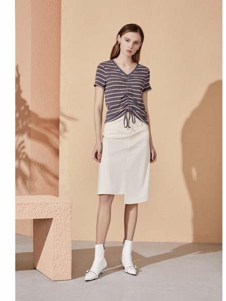 你即永恒女装品牌2020春夏条纹体恤时尚半身裙