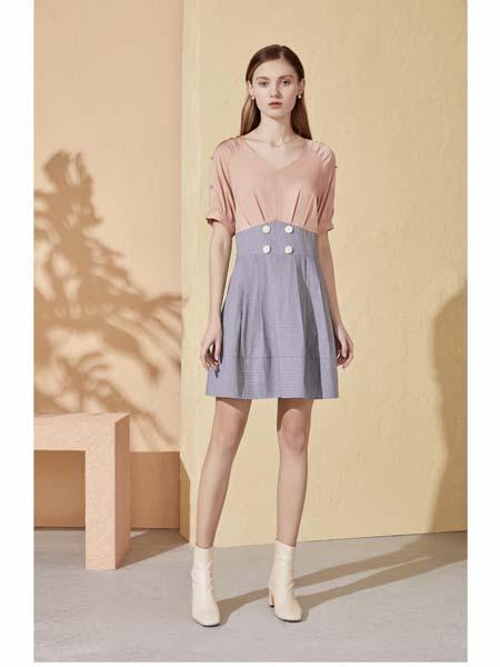你即永恒女装品牌2020春夏拼接撞色连衣裙