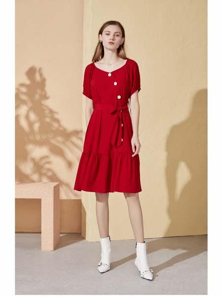 你即永恒女装品牌2020春夏红色连衣裙