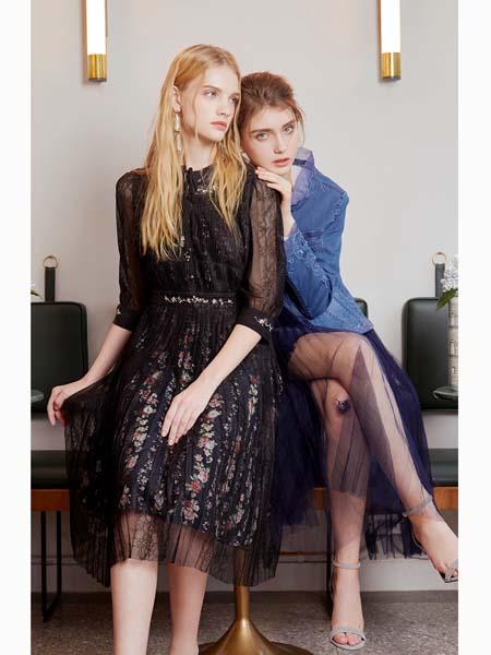 粉红玛莉 PinkMary女装品牌2020春夏黑纱连衣裙