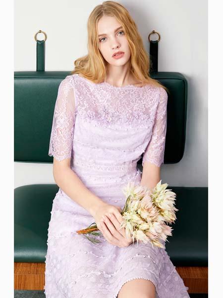 粉红玛莉 PinkMary女装品牌2020春夏紫色连衣裙